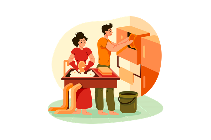 Cleaning team washing and arranging the dishes Illustration