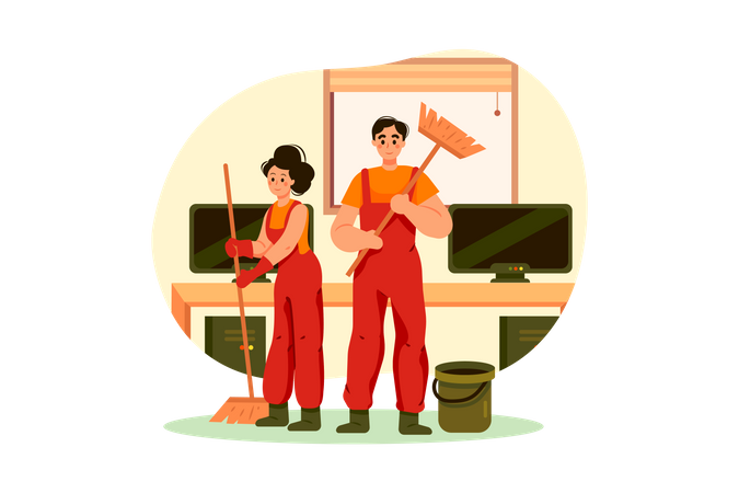 Cleaning team with broom Illustration