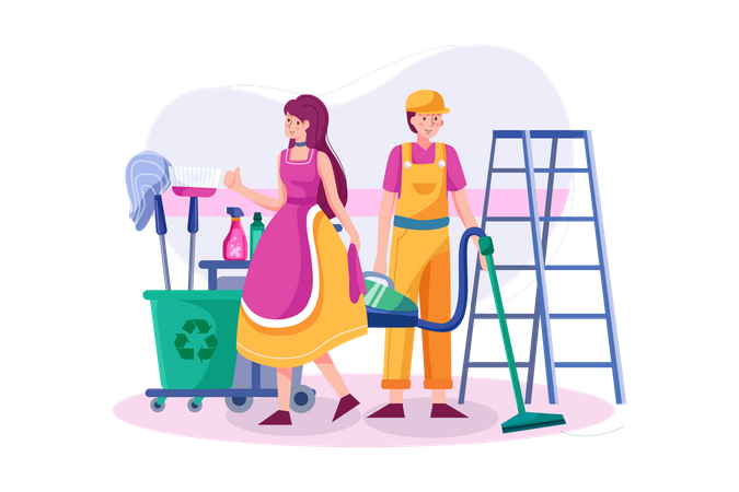 Cleaning team with professional equipment is ready to work Illustration