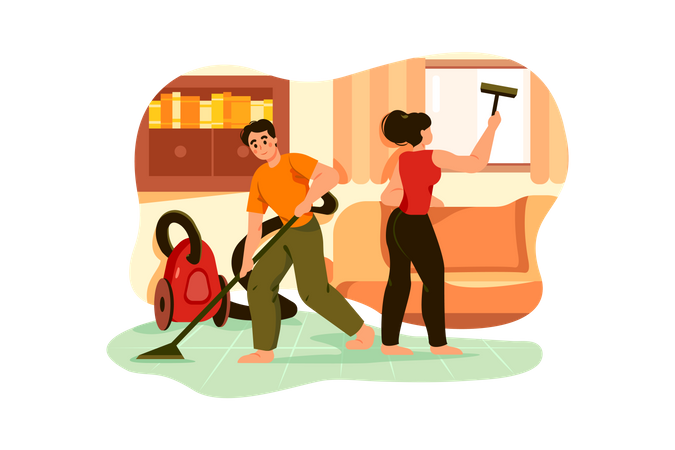 Cleaning team with vacuum cleaner Illustration