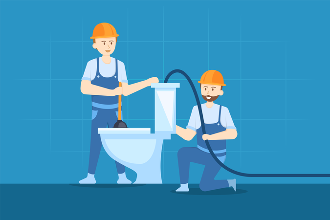 Cleaning Toilet Illustration