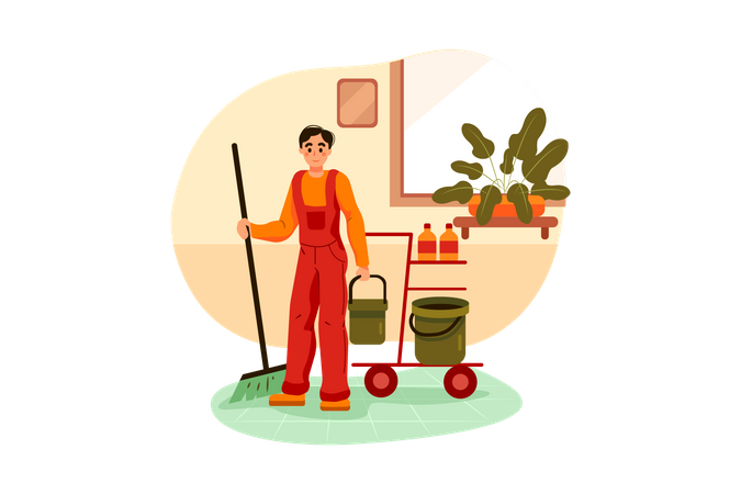 Cleaning workers are cleaning floor Illustration