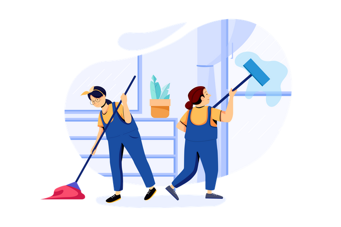 Cleaning workers cleaning house with mop Illustration