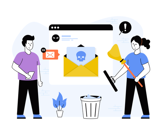 Clearing spam mail Illustration