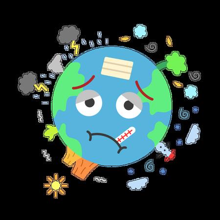 Climate change makes earth sick Illustration