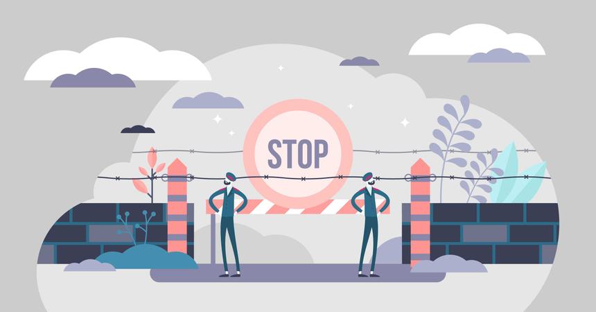 Closed border crossing point concept Illustration
