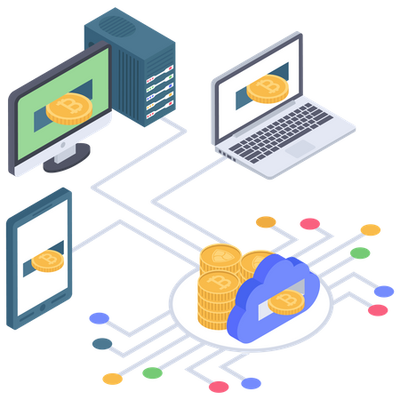 Cloud based digital crypto system Illustration