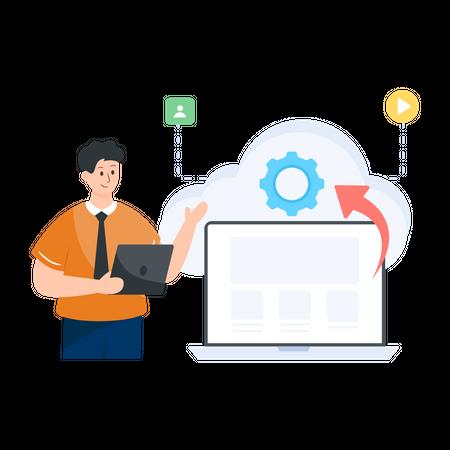 Cloud Based Engine Illustration