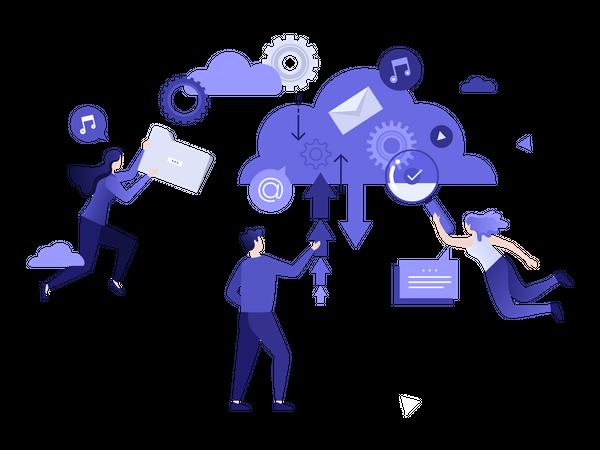 Cloud computing service Illustration