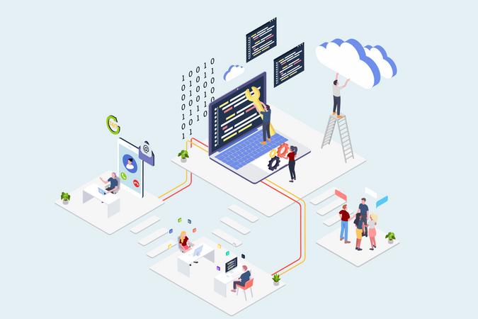 Cloud Computing Service Companies Illustration