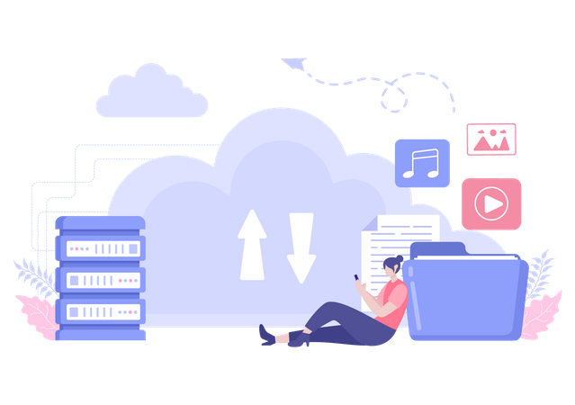 Cloud Data Backup Illustration