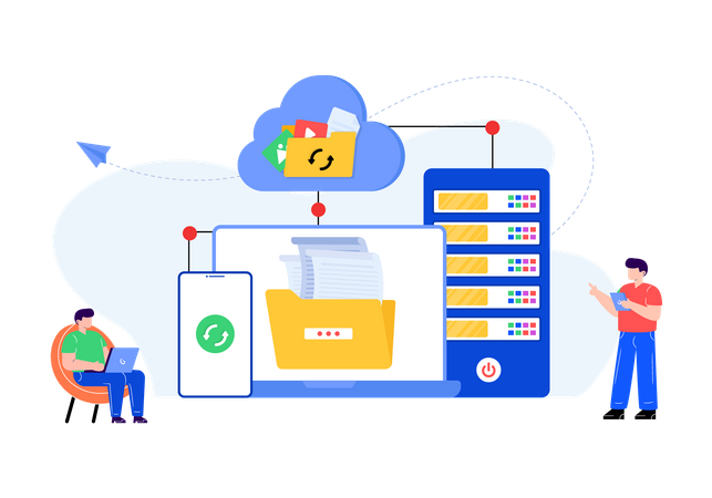 Cloud data storage Illustration