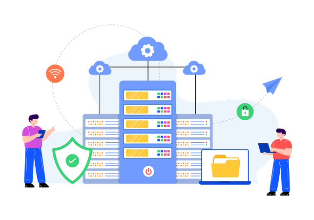 Cloud datacenter Illustration