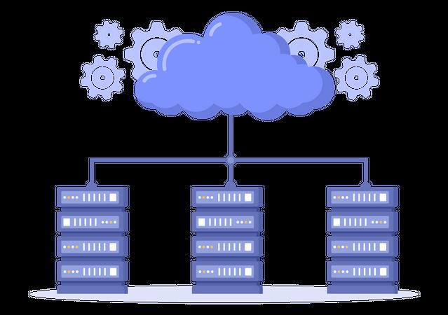 Cloud Hosting Management Illustration