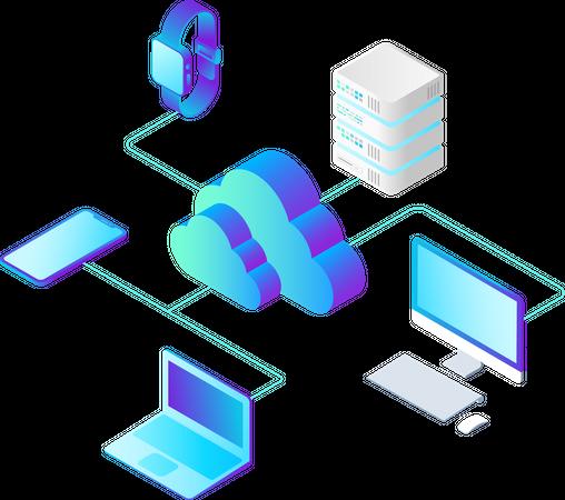Cloud Hosting Network Illustration