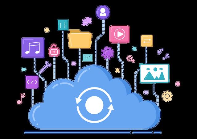 Cloud Hosting Service Illustration