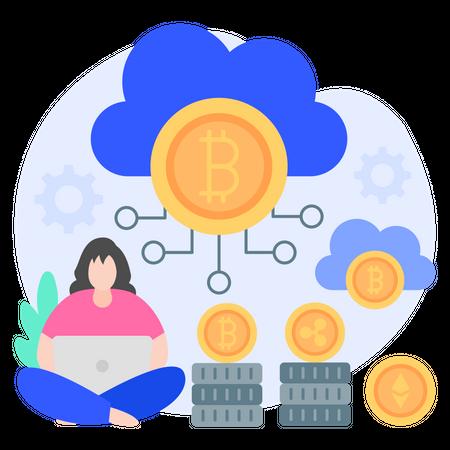 Cloud Mining Illustration