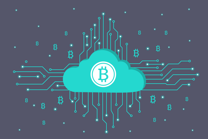 Cloud Mining Bitcoin Cryptocurrency Illustration