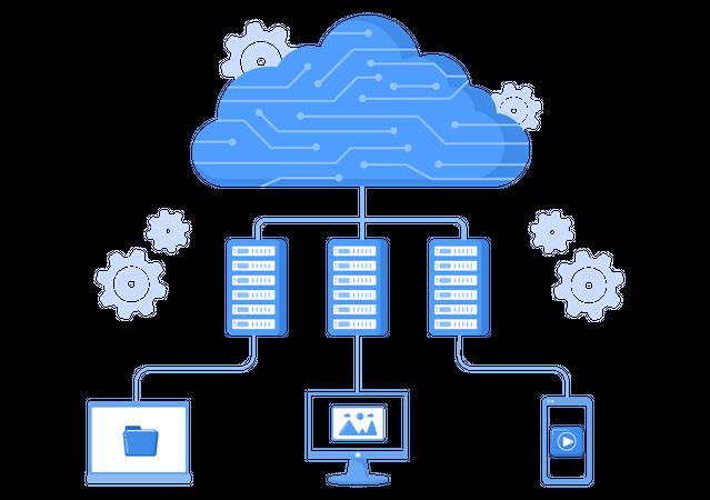 Cloud Server Sharing Data Illustration