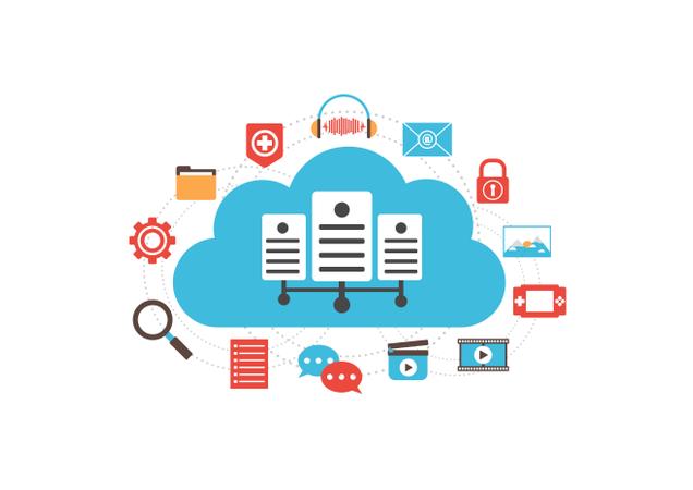Cloud Server With Media Illustration