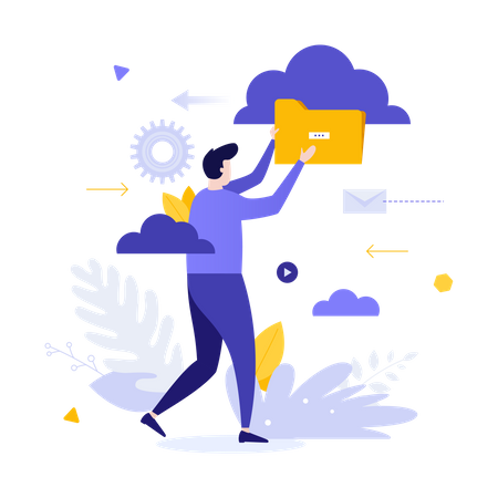 Cloud service for internet storage of digital data, files organization, organizing information in online archive Illustration