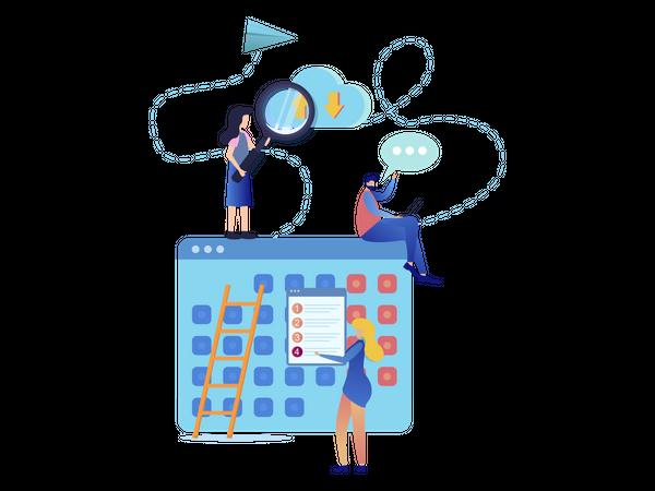 Cloud Service Timetable Organization Illustration