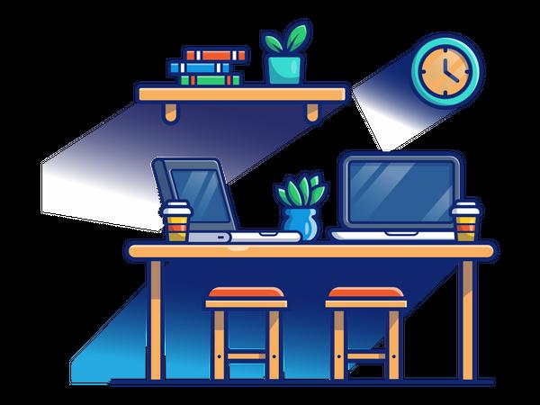Co working desk Illustration