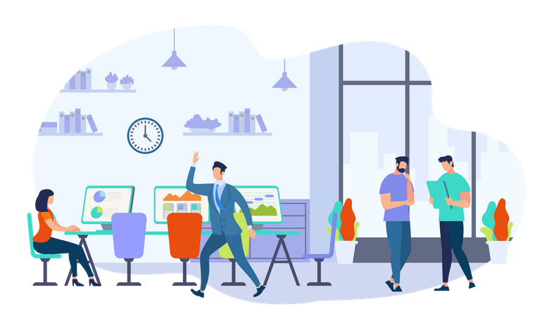 Co-working Men and Woman with Creative Workers Team Illustration