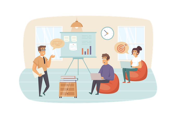 Coach brainstorming with employees, increases work motivation at business training Illustration
