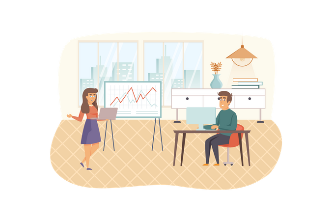 Coach teaching, improving professional skills, work motivation for office employees Illustration