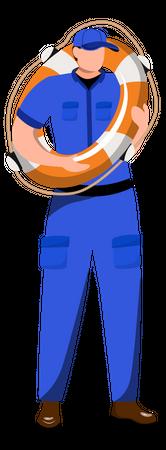 Coast Guard Wearing Safety Tube Illustration