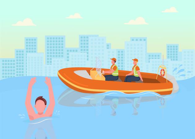 Coast guards saving people Illustration