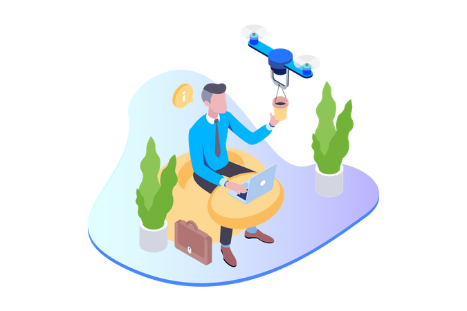 Coffee Delivery Drone in working space Illustration
