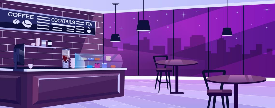 Coffee shop at night Illustration