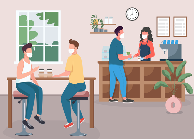 Coffee shop during pandemic Illustration