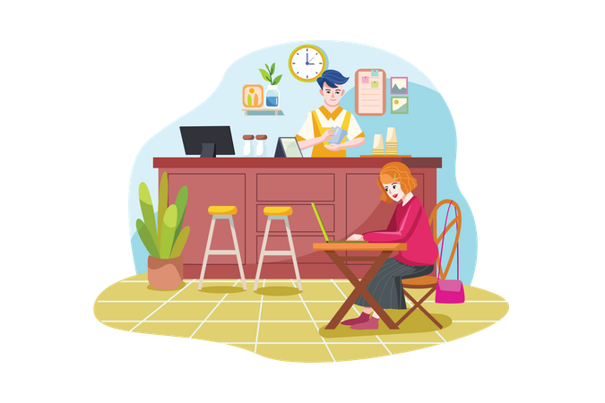 Coffee shop or cafe with people sitting at tables, drinking coffee and working on laptops and barista standing at counter Illustration