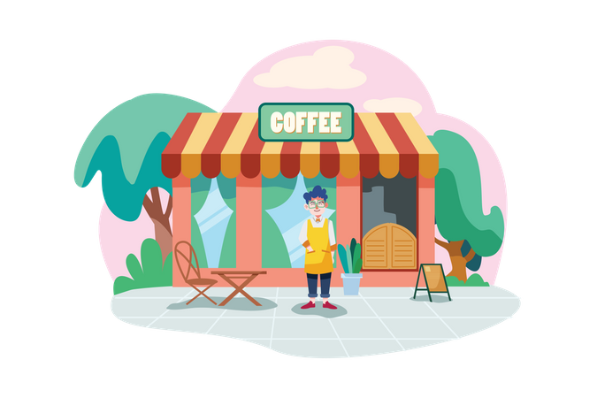 Coffee shop owner wearing apron in front of the shop facade Illustration