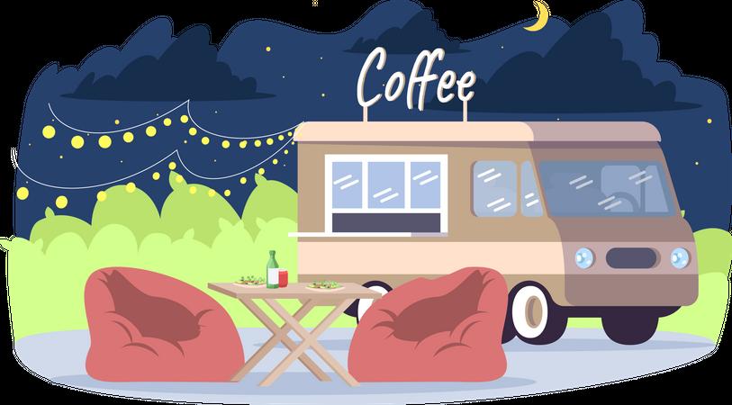 Coffee truck Illustration