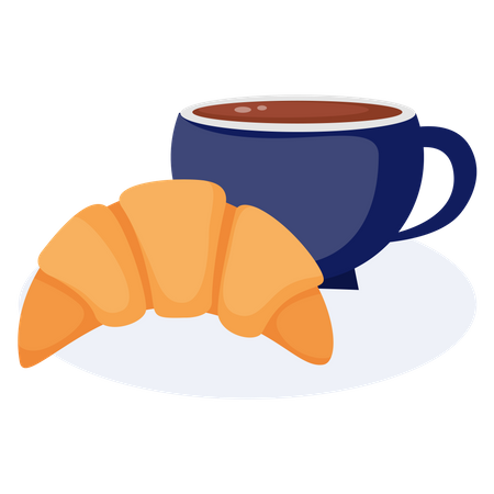 Coffee With Croissant Illustration