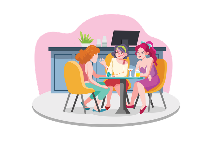 Coffee with friends on tables Illustration