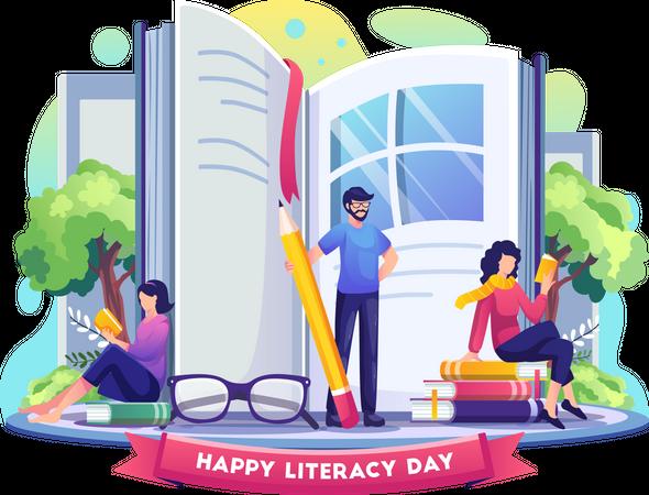 Collage graduates celebrating world literacy day Illustration