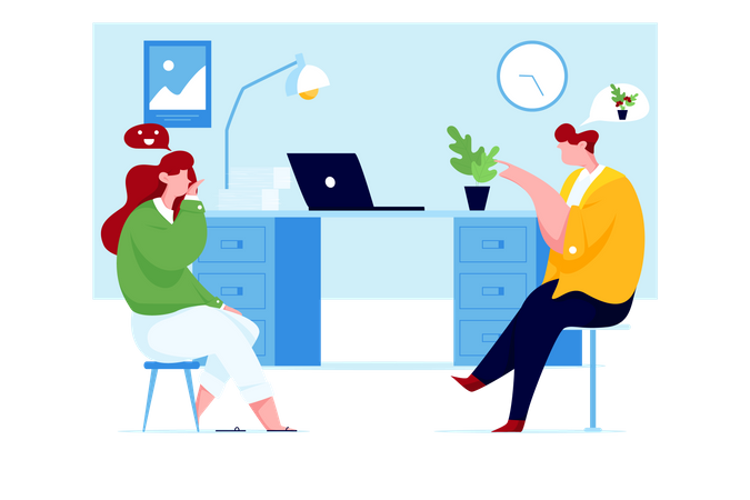 Colleague chatting in office Illustration