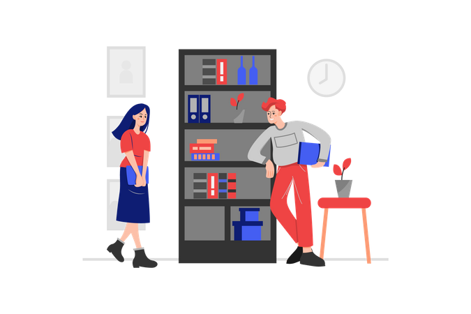 Colleague Flirting with lady employee in the office Illustration