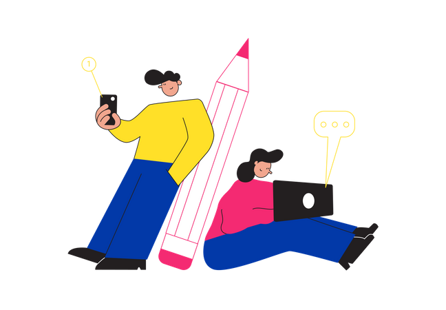 Colleague working together Illustration