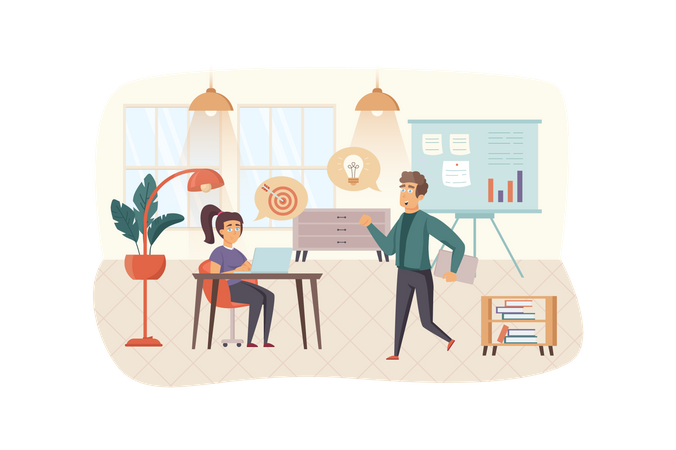 Colleagues generate ideas, do targeting, brainstorming and team building Illustration