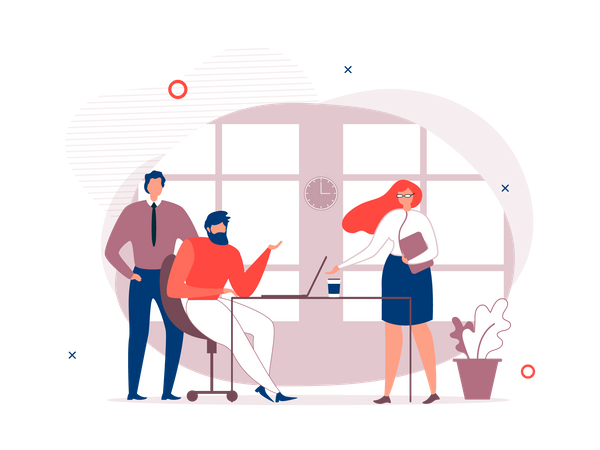 Colleagues Having Conversation in office Illustration