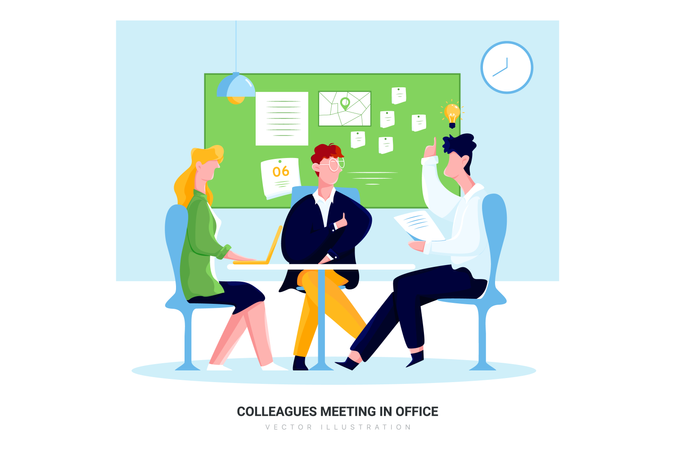 Colleagues meeting in office Illustration