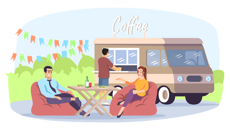 Colleagues meeting on coffee Illustration