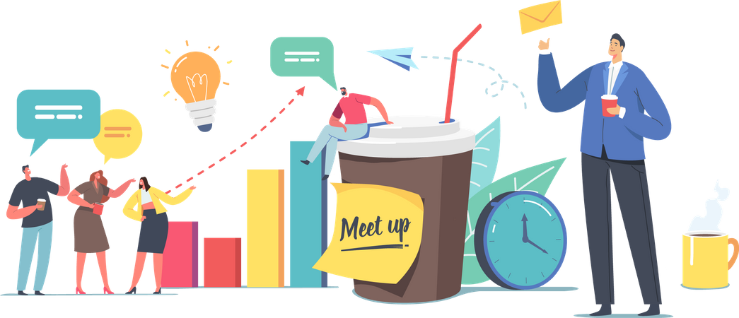 Colleagues Meetup and employees Coffee Break Illustration