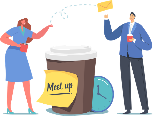 Colleagues Meetup, business people change messages on Coffee Break Illustration